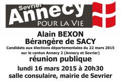 RÉUNION PUBLIQUE, BEXON, Annecy, Sevrier, Bérangère de Sacy, élections départementales