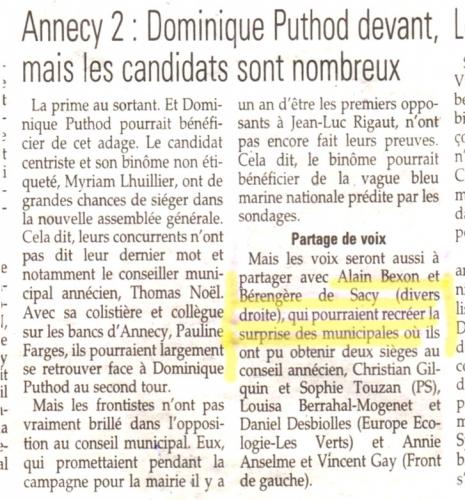 Annecy, élections départementales 2015