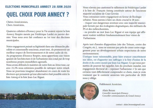 élections municipales 2020 Annecy