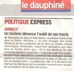 Élections départementales, ANNECY
